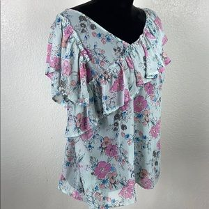 A NEW DAY Sheer Ruffle Floral Top